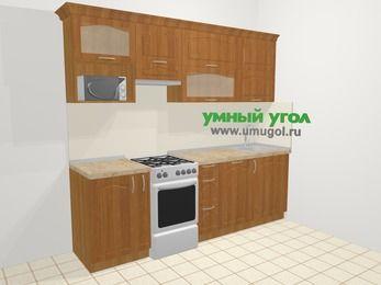 Прямая кухня МДФ матовый в классическом стиле 5,0 м², 240 см, Вишня, верхние модули 72 см, посудомоечная машина, верхний модуль под свч, отдельно стоящая плита