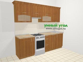 Прямая кухня МДФ матовый в классическом стиле 5,0 м², 240 см, Вишня, верхние модули 72 см, посудомоечная машина, отдельно стоящая плита