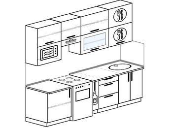 Прямая кухня 5,0 м² (2,4 м), верхние модули 920 мм, верхний витринный модуль под свч, отдельно стоящая плита