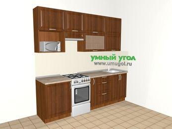 Прямая кухня из массива дерева 5,0 м², 2400 мм, Темно-коричневые оттенки, верхние модули 920 мм, верхний модуль под свч, отдельно стоящая плита
