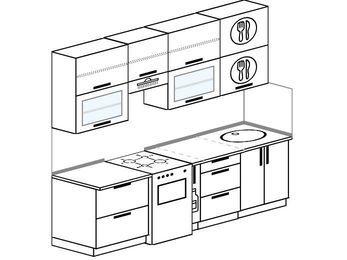 Прямая кухня 5,0 м² (2,4 м), верхние модули 920 мм, отдельно стоящая плита