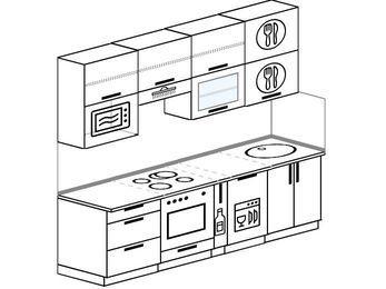 Прямая кухня 5,0 м² (2,4 м), верхние модули 920 мм, посудомоечная машина, верхний витринный модуль под свч, встроенный духовой шкаф