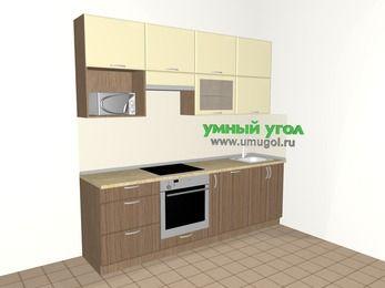 Прямая кухня МДФ матовый 5,0 м², 2400 мм, Ваниль / Лиственница бронзовая, верхние модули 920 мм, посудомоечная машина, верхний витринный модуль под свч, встроенный духовой шкаф