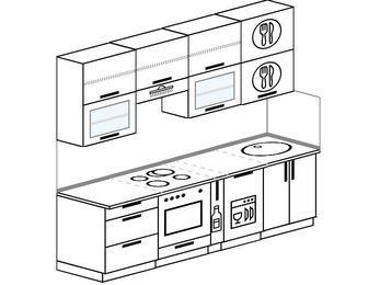Прямая кухня 5,0 м² (2,4 м), верхние модули 920 мм, посудомоечная машина, встроенный духовой шкаф