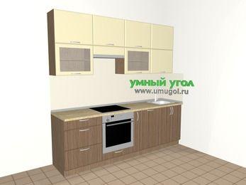 Прямая кухня МДФ матовый 5,0 м², 2400 мм, Ваниль / Лиственница бронзовая, верхние модули 920 мм, посудомоечная машина, встроенный духовой шкаф