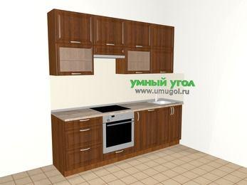 Прямая кухня из массива дерева 5,0 м², 2400 мм, Темно-коричневые оттенки: верхние модули 920 мм, встроенный духовой шкаф, корзина-бутылочница, посудомоечная машина