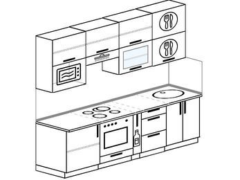 Прямая кухня 5,0 м² (2,4 м), верхние модули 920 мм, верхний витринный модуль под свч, встроенный духовой шкаф