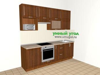 Прямая кухня из массива дерева 5,0 м², 2400 мм, Темно-коричневые оттенки, верхние модули 920 мм, верхний модуль под свч, встроенный духовой шкаф