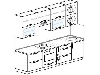 Прямая кухня 5,0 м² (2,4 м), верхние модули 920 мм, встроенный духовой шкаф