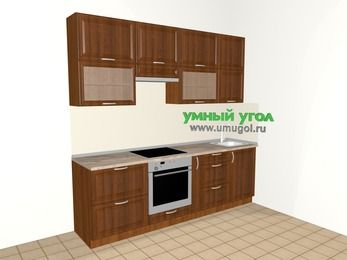 Прямая кухня из массива дерева 5,0 м², 2400 мм, Темно-коричневые оттенки, верхние модули 920 мм, встроенный духовой шкаф