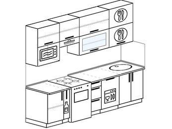 Прямая кухня 5,0 м² (2,4 м), верхние модули 920 мм, посудомоечная машина, верхний витринный модуль под свч, отдельно стоящая плита