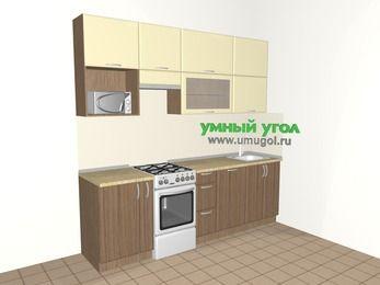 Прямая кухня МДФ матовый 5,0 м², 2400 мм, Ваниль / Лиственница бронзовая, верхние модули 920 мм, посудомоечная машина, верхний витринный модуль под свч, отдельно стоящая плита