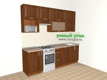 Прямая кухня из массива дерева 5,0 м², 2400 мм, Темно-коричневые оттенки, верхние модули 920 мм, посудомоечная машина, верхний модуль под свч, отдельно стоящая плита