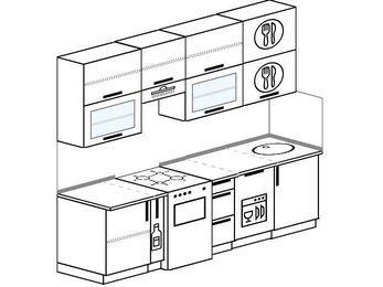 Прямая кухня 5,0 м² (2,4 м), верхние модули 920 мм, посудомоечная машина, отдельно стоящая плита