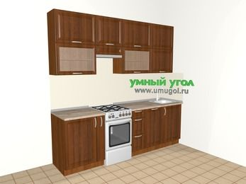 Прямая кухня из массива дерева 5,0 м², 2400 мм, Темно-коричневые оттенки, верхние модули 920 мм, посудомоечная машина, отдельно стоящая плита
