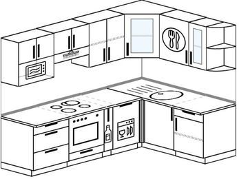 Угловая кухня 6,0 м² (2,4✕1,6 м), верхние модули 72 см, посудомоечная машина, модуль под свч, встроенный духовой шкаф