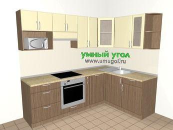 Угловая кухня МДФ матовый 6,0 м², 2400 на 1600 мм, Ваниль / Лиственница бронзовая, верхние модули 720 мм, посудомоечная машина, модуль под свч, встроенный духовой шкаф