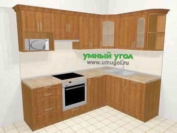 Угловая кухня МДФ матовый в классическом стиле 6,0 м², 240 на 160 см, Вишня, верхние модули 72 см, посудомоечная машина, модуль под свч, встроенный духовой шкаф