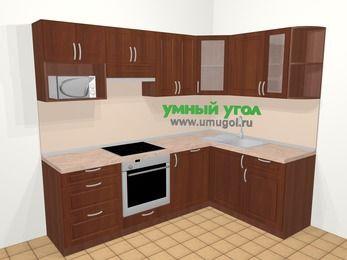 Угловая кухня МДФ матовый в классическом стиле 6,0 м², 240 на 160 см, Вишня темная, верхние модули 72 см, посудомоечная машина, модуль под свч, встроенный духовой шкаф