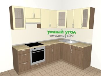 Угловая кухня МДФ матовый 6,0 м², 2400 на 1600 мм, Ваниль / Лиственница бронзовая, верхние модули 720 мм, посудомоечная машина, встроенный духовой шкаф
