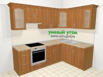 Угловая кухня МДФ матовый в классическом стиле 6,0 м², 240 на 160 см, Вишня, верхние модули 72 см, посудомоечная машина, встроенный духовой шкаф