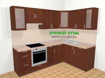 Угловая кухня МДФ матовый в классическом стиле 6,0 м², 240 на 160 см, Вишня темная, верхние модули 72 см, посудомоечная машина, встроенный духовой шкаф