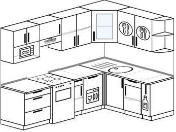 Угловая кухня 6,0 м² (2,4✕1,6 м), верхние модули 72 см, посудомоечная машина, модуль под свч, отдельно стоящая плита
