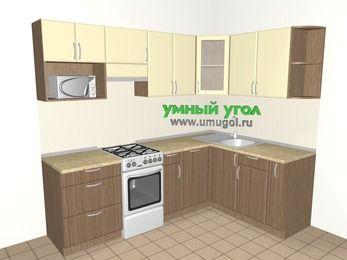 Угловая кухня МДФ матовый 6,0 м², 2400 на 1600 мм, Ваниль / Лиственница бронзовая, верхние модули 720 мм, посудомоечная машина, модуль под свч, отдельно стоящая плита