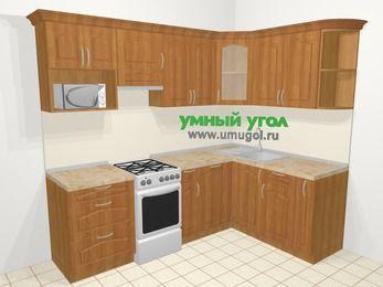 Угловая кухня МДФ матовый в классическом стиле 6,0 м², 240 на 160 см, Вишня, верхние модули 72 см, посудомоечная машина, модуль под свч, отдельно стоящая плита