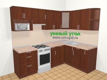 Угловая кухня МДФ матовый в классическом стиле 6,0 м², 240 на 160 см, Вишня темная, верхние модули 72 см, посудомоечная машина, модуль под свч, отдельно стоящая плита
