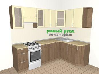 Угловая кухня МДФ матовый 6,0 м², 2400 на 1600 мм, Ваниль / Лиственница бронзовая, верхние модули 720 мм, посудомоечная машина, отдельно стоящая плита