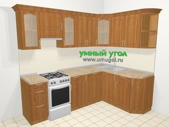 Угловая кухня МДФ матовый в классическом стиле 6,0 м², 240 на 160 см, Вишня, верхние модули 72 см, посудомоечная машина, отдельно стоящая плита