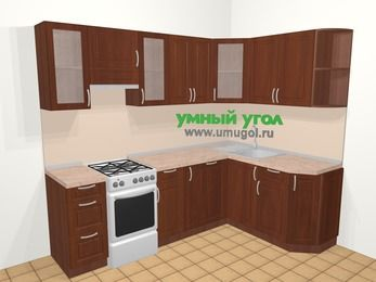 Угловая кухня МДФ матовый в классическом стиле 6,0 м², 240 на 160 см, Вишня темная, верхние модули 72 см, посудомоечная машина, отдельно стоящая плита