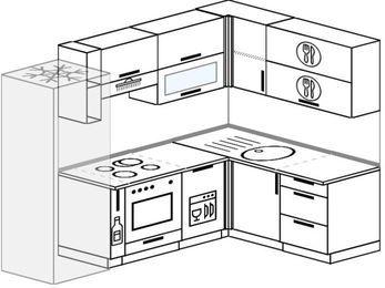 Планировка угловой кухни 6,0 м², 240 на 160 см: верхние модули 72 см, холодильник, корзина-бутылочница, встроенный духовой шкаф, посудомоечная машина