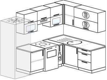 Планировка угловой кухни 6,0 м², 240 на 160 см: верхние модули 72 см, холодильник, отдельно стоящая плита, корзина-бутылочница