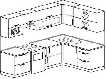 Угловая кухня 6,0 м² (2,4✕1,6 м), верхние модули 72 см, верхний модуль под свч, отдельно стоящая плита