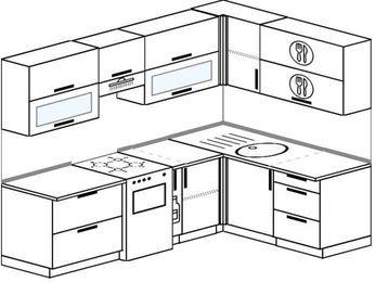 Угловая кухня 6,0 м² (2,4✕1,6 м), верхние модули 72 см, отдельно стоящая плита