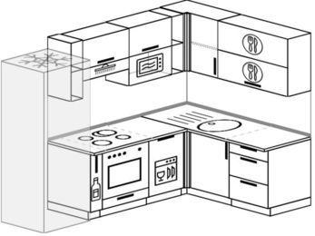 Угловая кухня 6,0 м² (2,4✕1,6 м), верхние модули 72 см, посудомоечная машина, верхний модуль под свч, встроенный духовой шкаф, холодильник