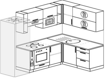 Угловая кухня 6,0 м² (2,4✕1,6 м), верхние модули 72 см, верхний модуль под свч, встроенный духовой шкаф, холодильник