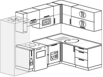Угловая кухня 6,0 м² (2,4✕1,6 м), верхние модули 72 см, посудомоечная машина, верхний модуль под свч, холодильник, отдельно стоящая плита