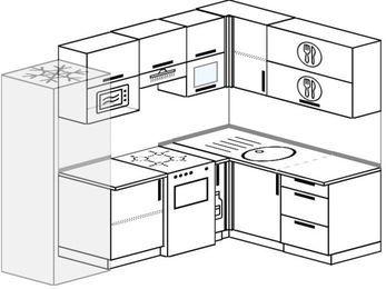 Угловая кухня 6,0 м² (2,4✕1,6 м), верхние модули 72 см, верхний модуль под свч, холодильник, отдельно стоящая плита