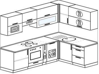 Угловая кухня 6,0 м² (2,4✕1,6 м), верхние модули 72 см, посудомоечная машина, верхний модуль под свч, встроенный духовой шкаф