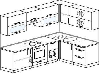 Планировка угловой кухни 6,0 м², 240 на 160 см: верхние модули 72 см, корзина-бутылочница, встроенный духовой шкаф, посудомоечная машина