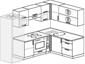 Угловая кухня 6,0 м² (2,4✕1,6 м), верхние модули 72 см, встроенный духовой шкаф, холодильник