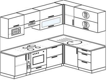 Угловая кухня 6,0 м² (2,4✕1,6 м), верхние модули 72 см, верхний модуль под свч, встроенный духовой шкаф