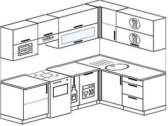 Угловая кухня 6,0 м² (2,4✕1,6 м), верхние модули 72 см, посудомоечная машина, верхний модуль под свч, отдельно стоящая плита