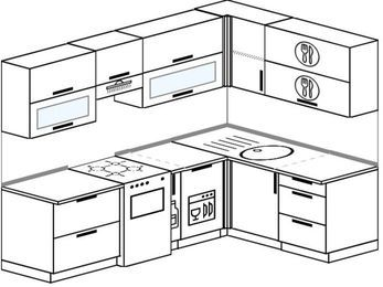 Планировка угловой кухни 6,0 м², 240 на 160 см: верхние модули 72 см, отдельно стоящая плита, корзина-бутылочница, посудомоечная машина