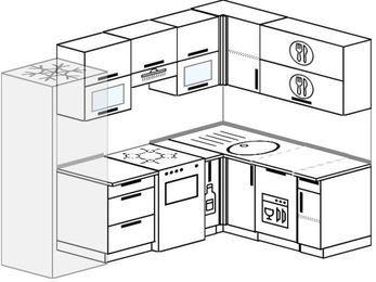 Угловая кухня 6,0 м² (2,4✕1,6 м), верхние модули 72 см, посудомоечная машина, холодильник, отдельно стоящая плита