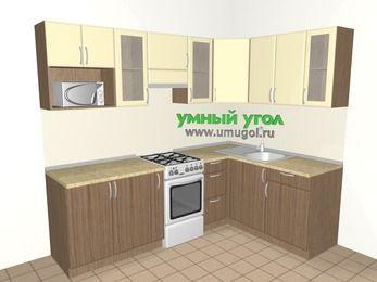 Угловая кухня МДФ матовый 6,0 м², 2400 на 1600 мм, Ваниль / Лиственница бронзовая, верхние модули 720 мм, модуль под свч, отдельно стоящая плита