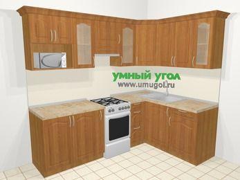 Угловая кухня МДФ матовый в классическом стиле 6,0 м², 240 на 160 см, Вишня, верхние модули 72 см, модуль под свч, отдельно стоящая плита